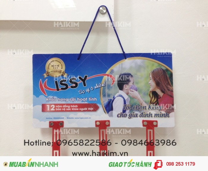 Hanger quảng cáo thương hiệu khẩu trang KISSY