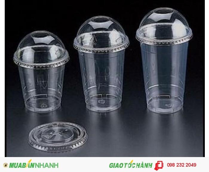 Ly nhựa nắp cầu, nắp vòm đựng cafe, sinh tố, trà sữa,in logo trực tiếp trên ly
