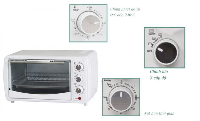 Lò nướng Hasu HSO12 12L hoạt động với công suất lên tới 1200W cùng dung tích 12L, giúp bạn nướng chín thức ăn nhanh, tiết kiệm thời gian và điện năng. Sản phẩm được trang bị chế độ nướng bằng thanh nhiệt giúp lò nóng lâu hơn.