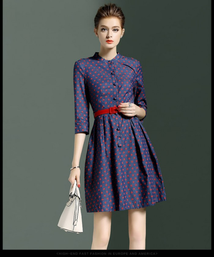 Váy chấm bi đỏ, kiểu cách đơn giản, nhẹ nhàng, phù hợp đi chơi và đi làm, sản phẩm may gia công cho shop thời trang, 3
