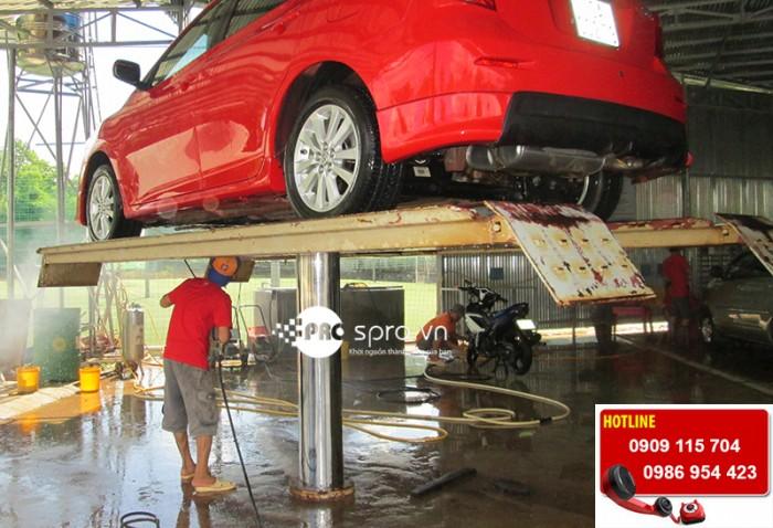 Lắp đặt cầu nâng rửa xe ô tô một trụ, giàn nâng rửa xe