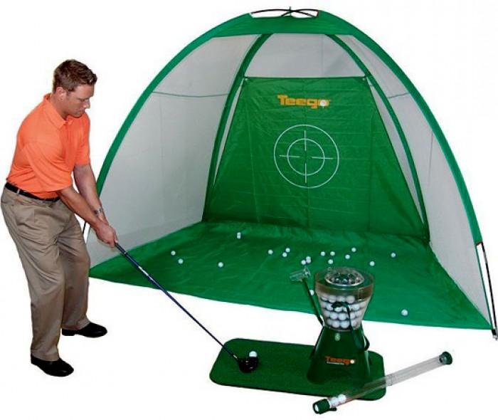 Khung lưới golf tập dùng trong nhà, lưới nhựa bao sân mini golf, bóng golf tập, tee golf, máy đặt banh