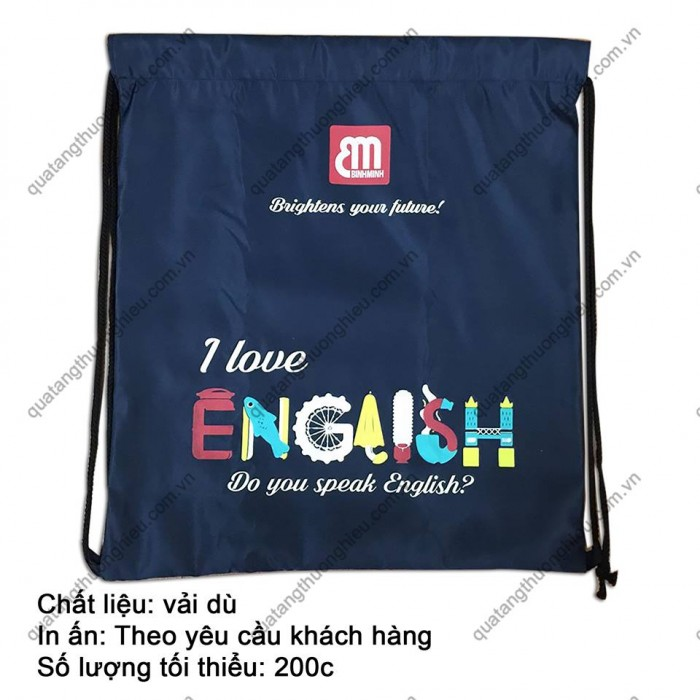 Túi vải dù - Quà tặng Túi dây rút in logo - Xưởng may túi vải giá rẻ