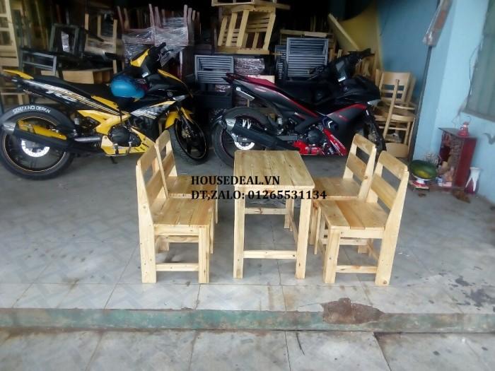 Bộ bàn ghế cafe gỗ thông giá rẻ.1