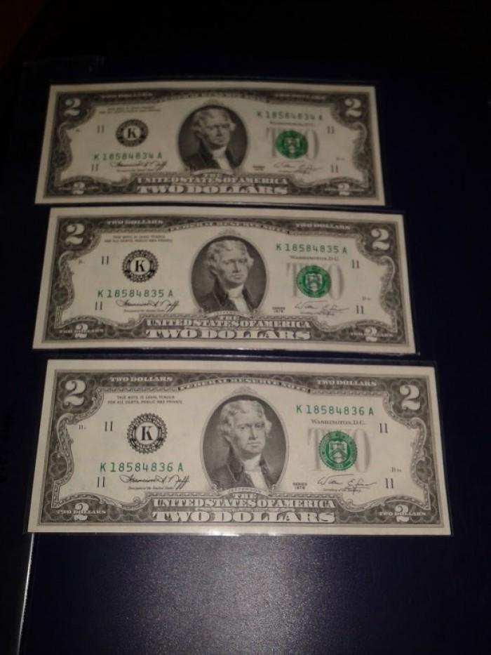 2 tờ 2 dola usd mỹ xưa năm 1976 mới đẹp0