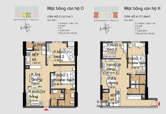 Căn hộ tốt nhất , 2pn , 67 m2 .giá 1ty270 tr( bao sang tên )tại cc era town