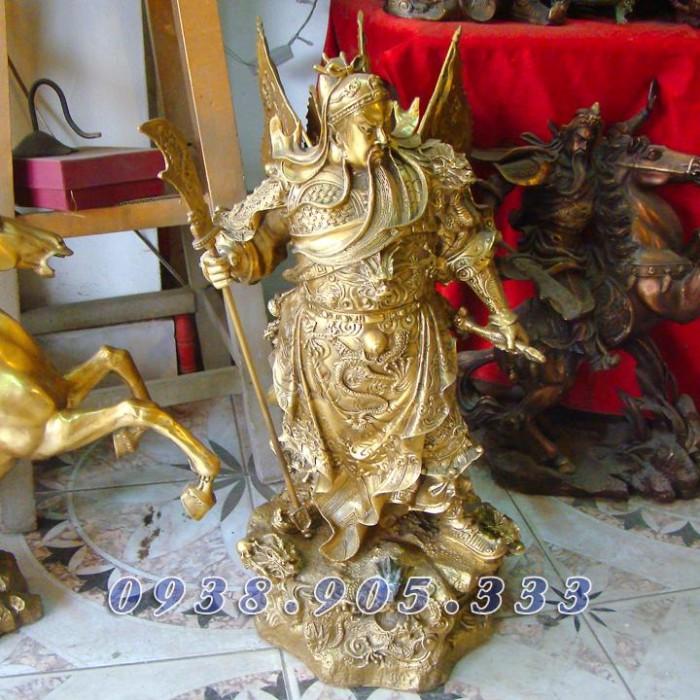 Tượng đồng Quan công cưỡi rồng, Quan vân trường cao 55cm1