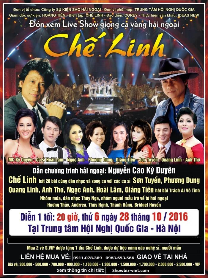 Bán vé liveshow Chế Linh ngày 28/10/2016 tại trung tâm hội nghị quốc gia