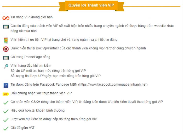 Lợi ích tài khoản VIP cho thành viên