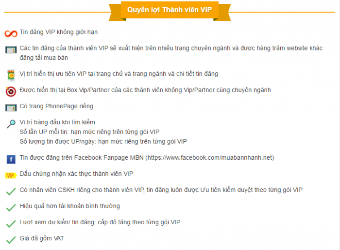 Quyền lợi khi đăng ký tài khoản VIP
