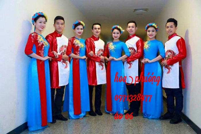 áo dài nam nữ xanh đỏ siêu đẹp