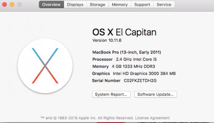 Cấu hình máy Macbook pro core i5