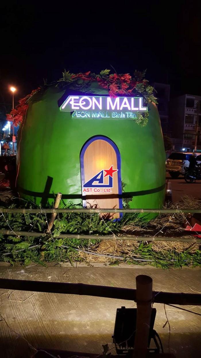Ngôi nhà trái bí màu xanh - phối cảnh tại khuôn viên Aeon Mall Bình Tân - Ánh Sao Trẻ đơn vị thi công trang trí Halloween