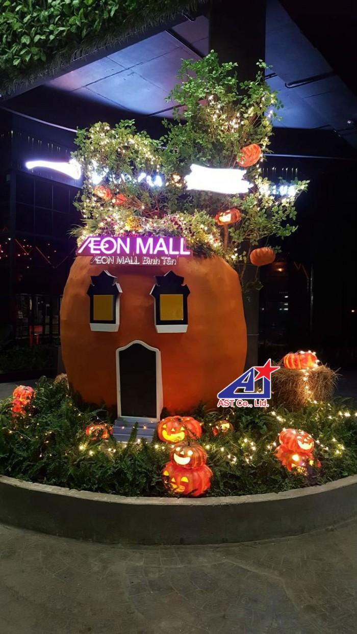 Ngôi nhà bí đỏ - phối cảnh tại khuôn viên Aeon Mall Bình Tân - Ánh Sao Trẻ đơn vị thi công trang trí Halloween