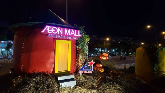 Chuyên thiết kế, thi công mô hình trang trí Halloween tại Aeon Mall Bình Tân - khung cảnh đặc sắc, trọn gói dịch vụ từ lên ý tưởng thiết kế, lập kế hoạch thi công, hoàn thiện công trình