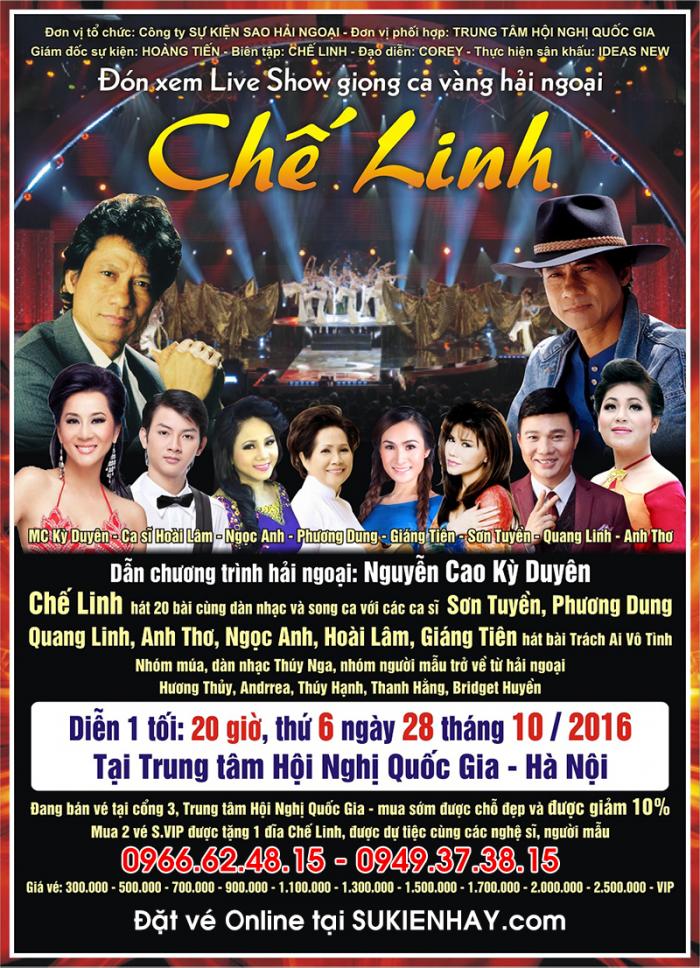 Bán vé liveshow Chế Linh 2016 tại Hà Nội