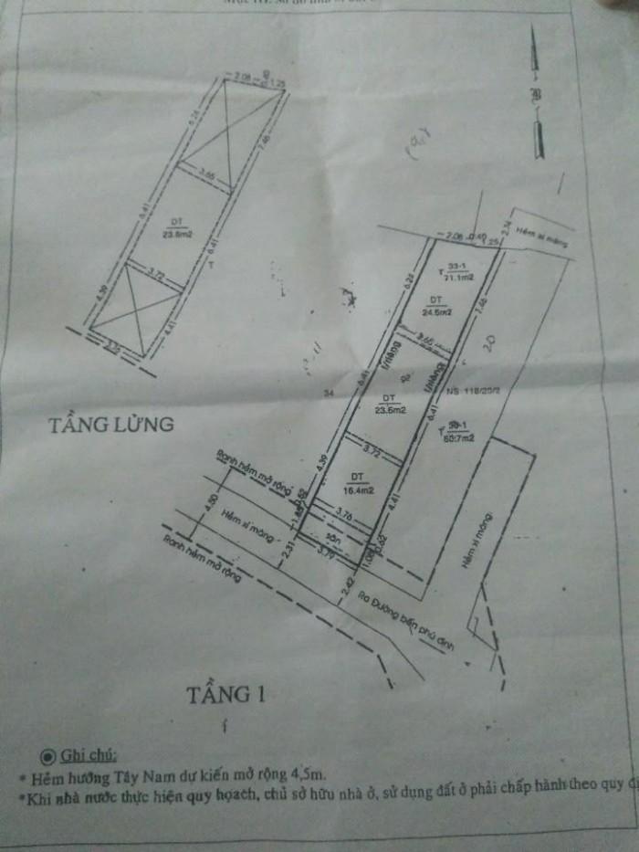Cần tiền bán gấp nhà số 118/20/2A Phú Định, Phường 16, Quận 8
