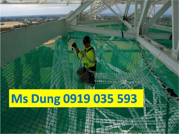 Lưới an toàn bao che công trình xây dựng màu xanh, lưới nhựa, dù, polyester, 11