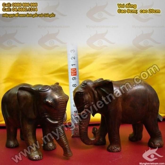 Tượng voi đồng cao 10cm và 20cm – Linh vật phong thủy0