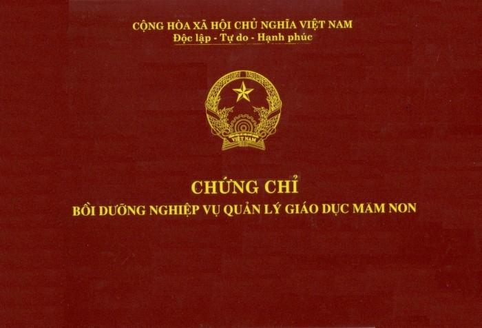 Chứng chỉ quản lý mầm non tại Đồng Nai....Chứng chỉ của Bộ giáo dục..