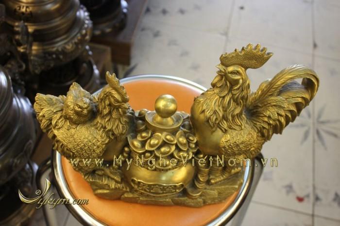 Quà tết - Tượng gà chầu hũ tiền dài 37cm2