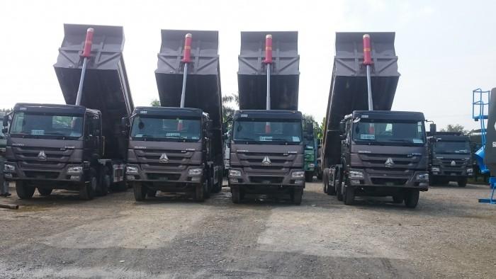 Bán xe tải ben HOWO, hổ vồ 4 chân thùng vuông, đúc, nhập khẩu