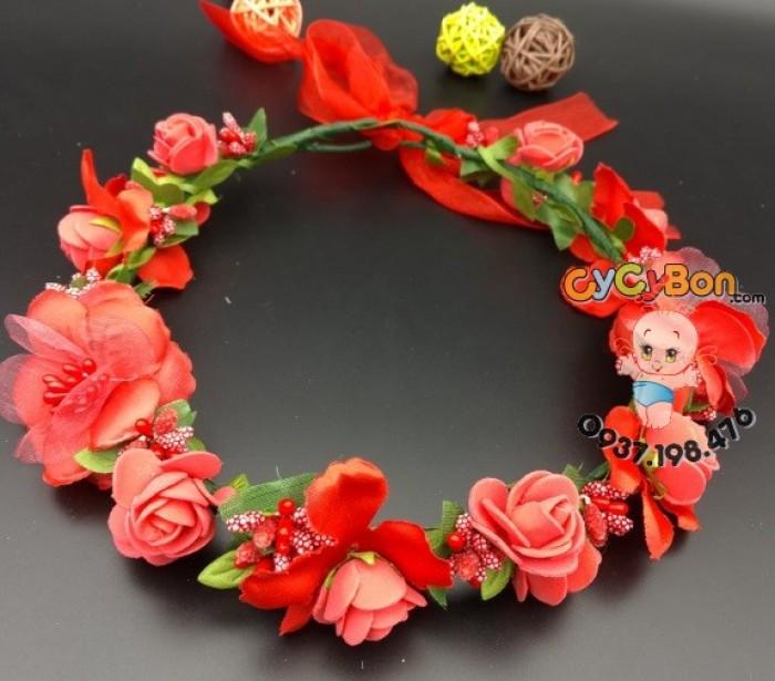 Vòng Hoa Bông Hồng Đỏ Cực Xinh Cho Bé Gái