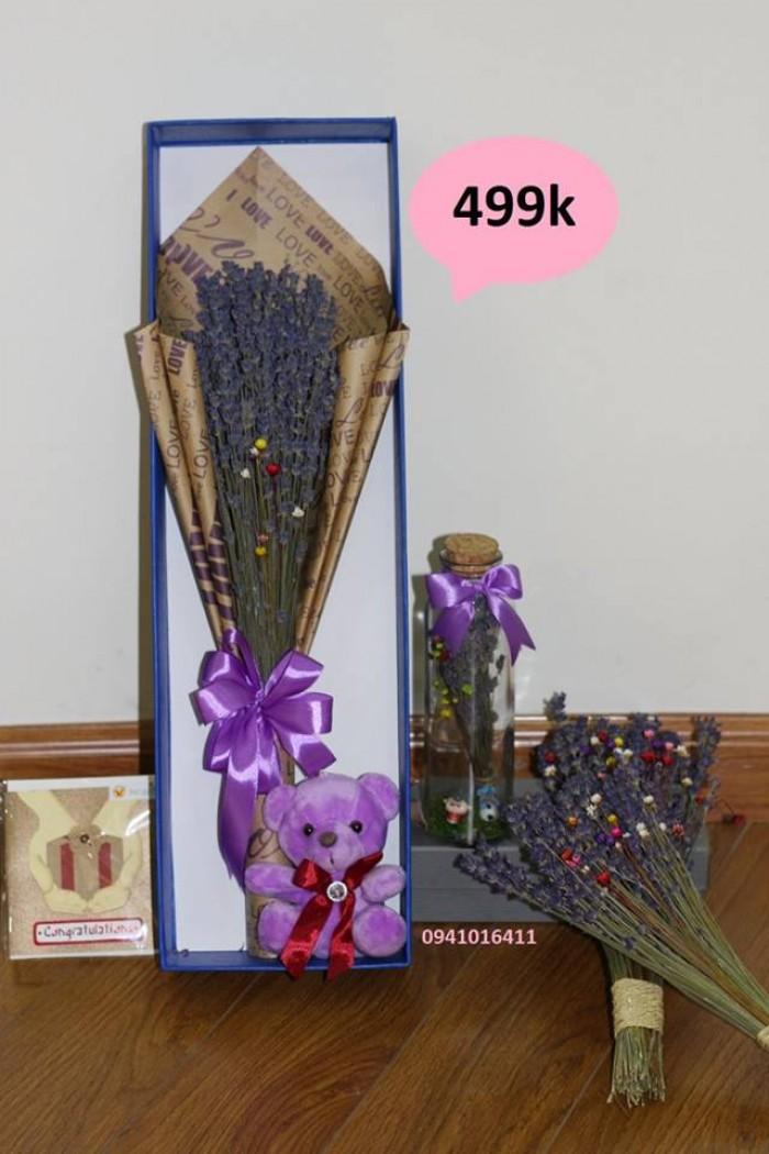 Combo 450k: 1 bó hoa+ 1 lọ thủy tinh ướp hương+ 1 gấu bông+ 1 hộp xanh3