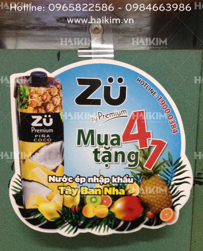 Wobbler nước ép Zu, wobbler quảng cáo, wobbler giá rẻ, wobbler để bàn