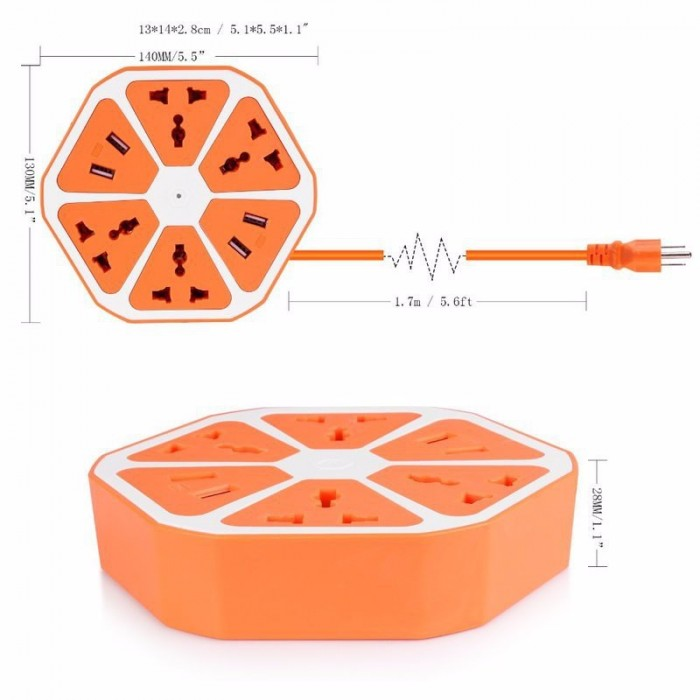 Ổ cắm điện đa năng Usb Hexagon Socket bao gồm 4 lỗ cắm 3 chấu cùng 3 khe cắm USB cho phép người dùng sạc pin smartphone mà không cần tới củ sạc.0