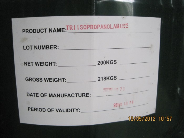 Triisopropanolamine, Cty Kim Mã,Dùng làm chất trợ nghiền cho xi măng, sx sơn, thuốc trừ sâu