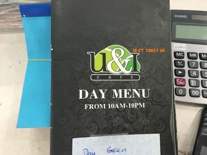 In menu cho quán cà phê, in menu dùng ban ngày cho quán cafe, chất liệu giấy