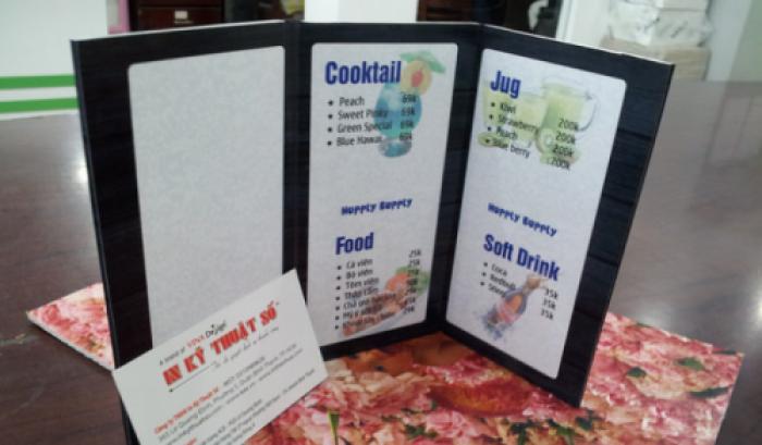 In menu gia công hình dáng đặc thù cho quán cafe, quán bar tại TPHCM