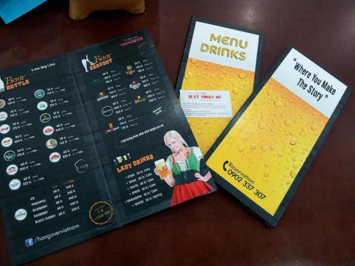 In menu quán bar thức uống, in menu cao cấp cho quán bar