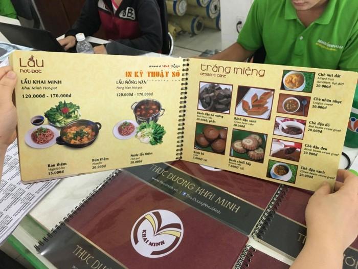 In menu, thực đơn bìa cứng, ruột giấy mỹ thuật đẹp, gia công đóng gáy lò xo,...