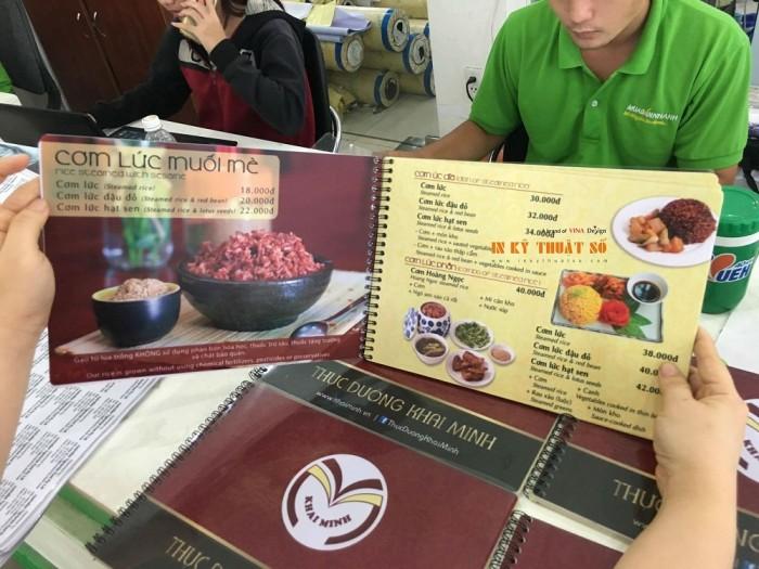 In menu, thực đơn nhà hàng, in trên giấy mỹ thuật cao cấp