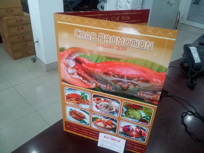 In menu nhà hàng hải sản, nhà hàng chuyên các món về cua - Menu khổ lớn PP cán for...