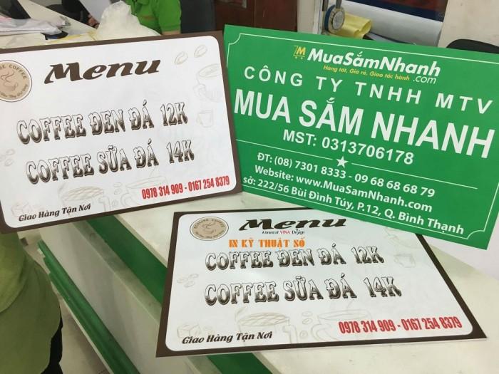 In menu, thực đơn treo tường cho quán cafe, quán trà sữa, giúp khách hàng gọi trà...