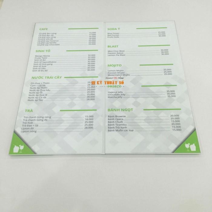 In thực đơn dạng cuốn cho quán bánh, quán cà phê   Loại hình in: in PP cán format,...