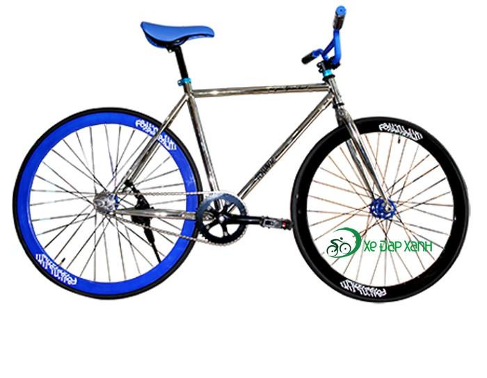 Xe đạp không phanh Fixed Gear F&m Màu Bạc Xanh Nhập Khẩu Chính Hãng 100%