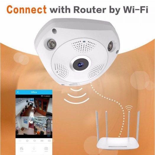 Camera IP VR CAM 3 Mắt xoay 360 độ0