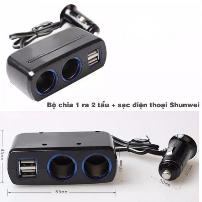 Bộ chia tẩu sạc Shunwei 1 ra 2 tẩu kèm 2 cổng sạc USB
