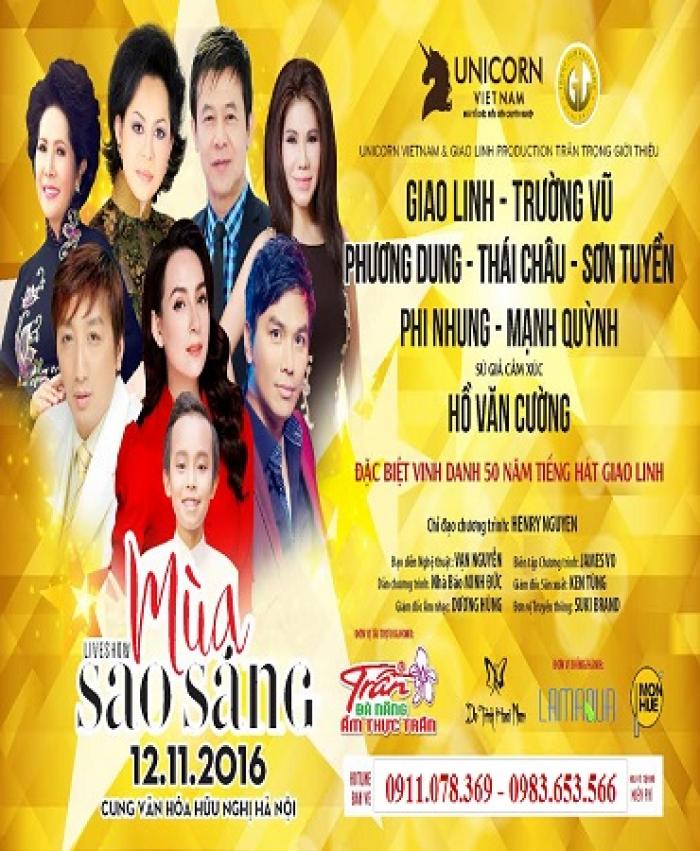 Bán vé đêm nhạc  Mùa sao sáng ngày 12/11/2016 tại Cung văn hoá Việt Xô