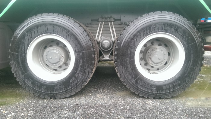 Bánh xe và kiểu loại – Lazăng:             8.5-20, thép 10 lỗ – Cỡ lốp:              12.00R20 (bố thép tam giác, 22PR) – Số lốp:               4 lốp trước, 8 lốp sau + 1 lốp dự phòng.