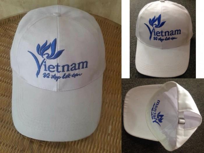 Nón đồng phục Vẻ Đẹp Việt Nam Bất Tận | ÓN VIỆT NAM VẺ ĐẸP BẤT TẬN (TỔNG CỤC DU LỊCH) | Chất liệu: vải kaki | Màu sắc: màu trắng | Kiểu nón: nón màu trắng thêu logo phía trước