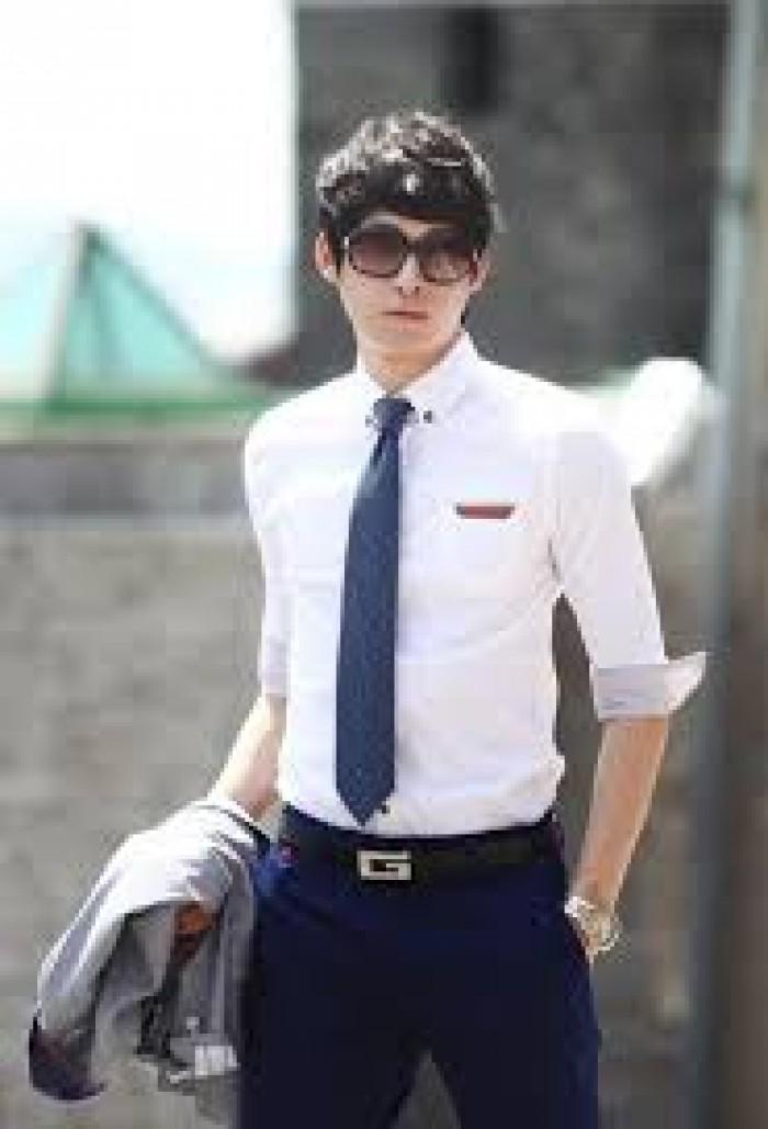 May đồng phục áo sơ mi nam trắng