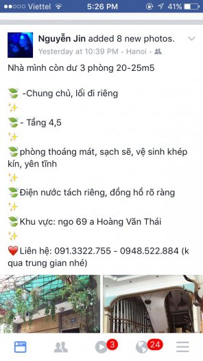 Cho thuê phòng Hoàng Văn Thái - TX - Hà Nội