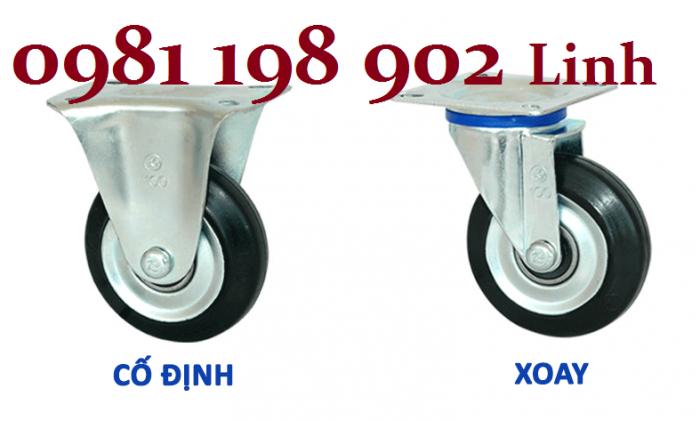 Bánh xe đẩy hàng 150kg, 200kg loại di động, cố định giá rẻ tại Hà Nội