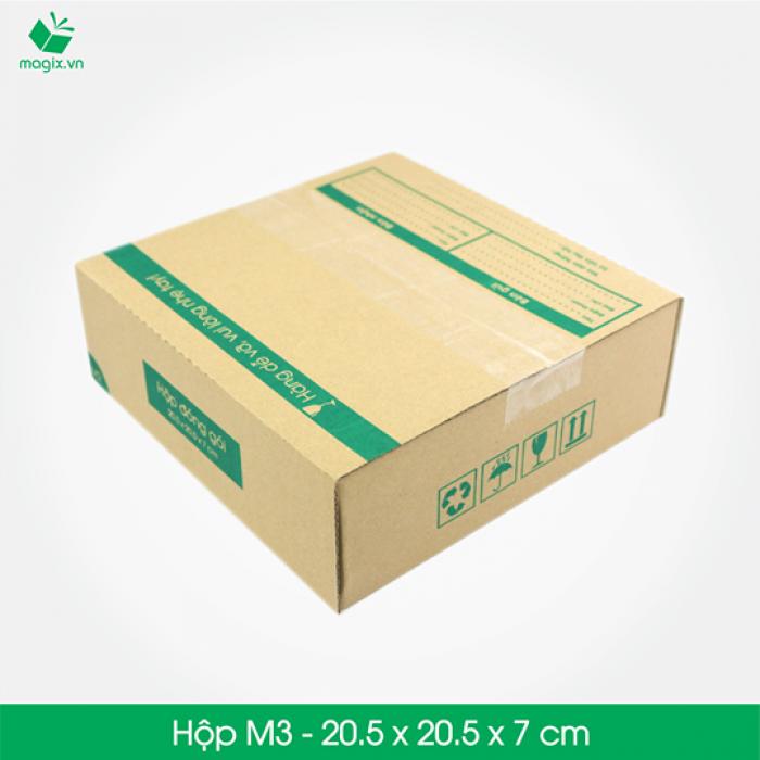 M3 - Size 20.5x20.5x7 cm- Hộp Carton đóng gói gửi hàng thu hộ COD0