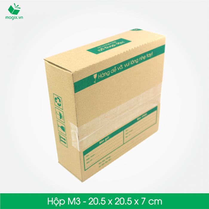 M3 - Size 20.5x20.5x7 cm- Hộp Carton đóng gói gửi hàng thu hộ COD2